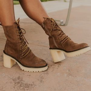 Free People Boot Lace Up Chunky Heel Combat Brown